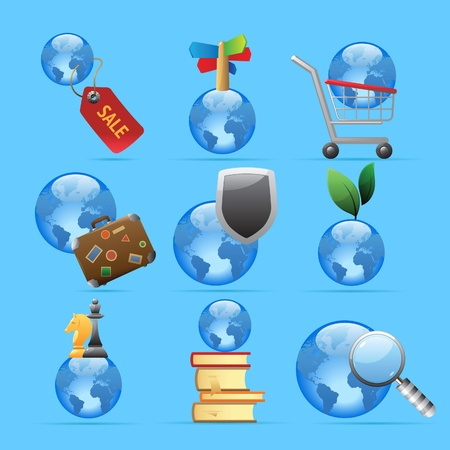 Icons for global concepts. Vector illustration. Stock Vector - 11175181