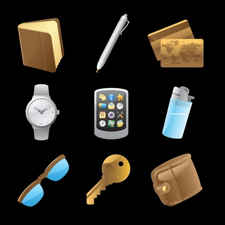 belongings: Icons for personal belongings. Vector illustration. Illustration