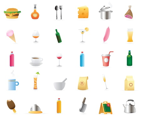 stand teapot: 30 detailed vector icons for food and drinks.