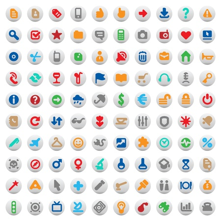 home entertainment: Set of one hundred multicolored buttons and icons for website interface, business designs, finance, security and leisure. Vector illustration. Illustration
