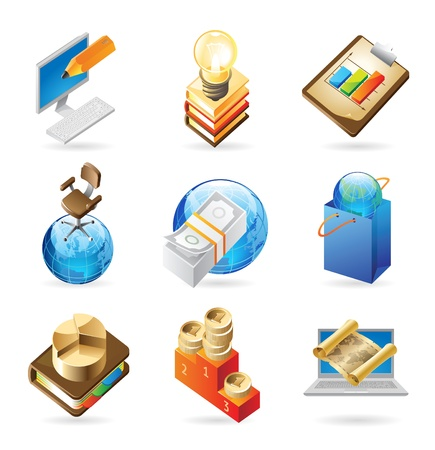 finance director: Vector concept icons for business. Illustrations for document, article or website.