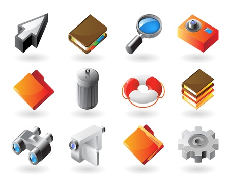 High detailed realistic vector icons for computer and website interface Vector