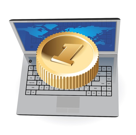 it business: Laptop with coin, web and IT business concept. Vector illustration. Illustration
