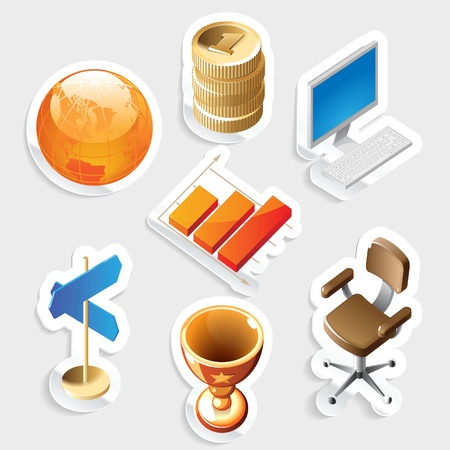 isometry: Sticker icon set for business and money.  Vector illustration. Illustration