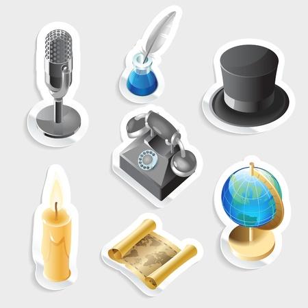 tally: Sticker icon set for retro.  Vector illustration.