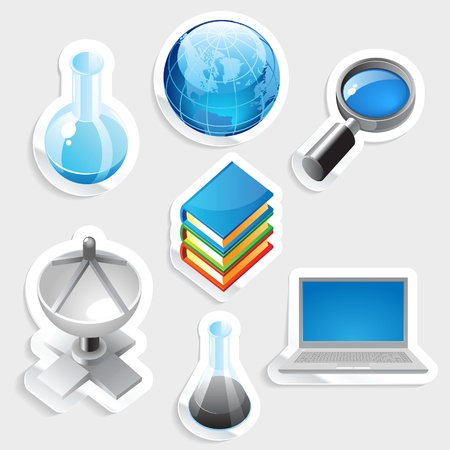 website buttons: Sticker icon set for education and science.  Vector illustration.