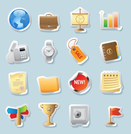 Sticker button set. Icons for business and finance. Vector illustration. Stock Vector - 11175195
