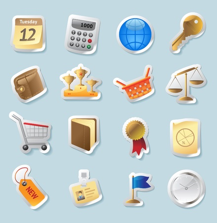 Sticker button set. Icons for business and finance. Vector illustration. Vector