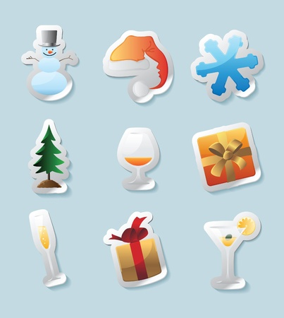 Sticker button set. Icons for christmas. Vector illustration. Vector
