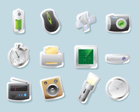 clock radio: Bot�n de etiqueta establecido. Los iconos de la tecnolog�a y los dispositivos. Ilustraci�n del vector.