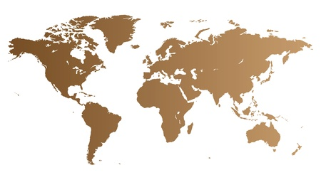 Brown high quality vector map of the World. Vector
