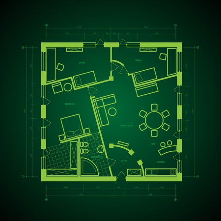 architect drawing: Abstract blueprint background in green colors. Vector illustration. Illustration