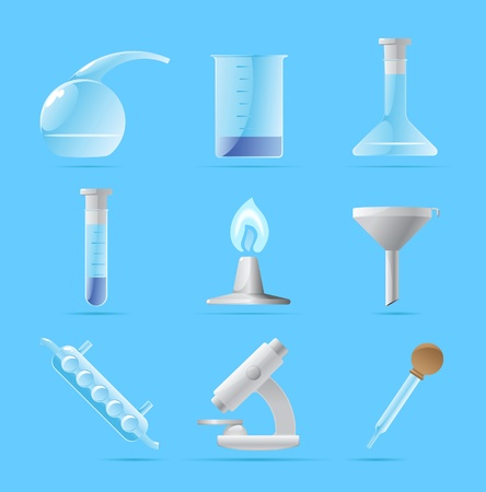 Icons for chemical lab. Vector illustration. Vector