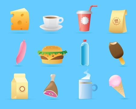 caja de leche: Iconos de los alimentos. Ilustración del vector. Vectores
