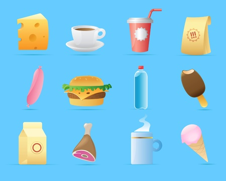 ham and cheese: Icons for food. Vector illustration.