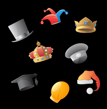hard cap: Icons for various hats. Vector illustration. Illustration