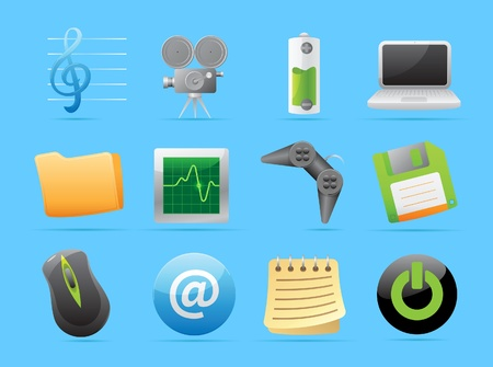 oscilloscope: Icons for computer and website interface. Vector illustration.