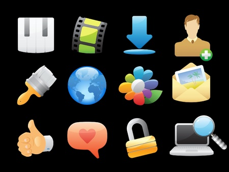 lens brush: Icons for computer and website interface. Vector illustration.