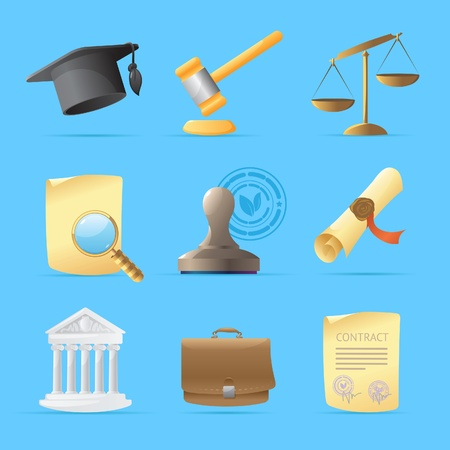 scroll of the law: Icons for law. Vector illustration.