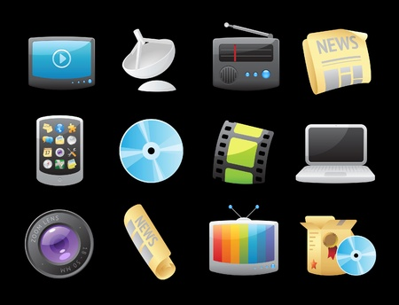 phone box: Icons for media. Vector illustration.