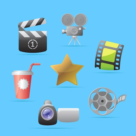 Icons for movies. Vector illustration. Illustration