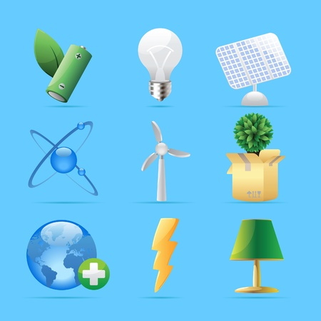 button batteries: Icons for nature, energy and ecology. Vector illustration. Illustration