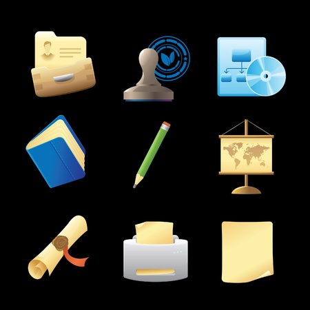 Icons for office and stationery. Vector illustration. Stock Vector - 11393413