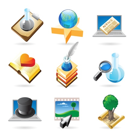 inkpot: Vector concept icons for science and education. Illustrations for document, article or website. Illustration