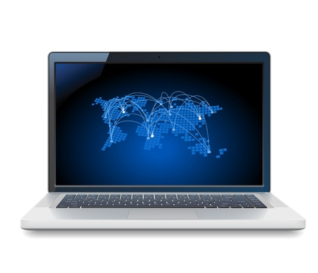 Laptop and blue World map with connections. Vector illustration for telecommunications and internet service provider. Vector