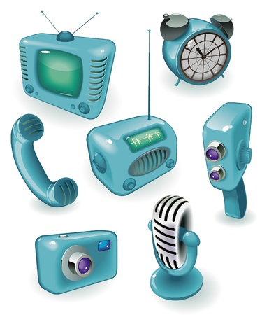 Blue icons of retro devices: media, time and communications. Vector illustration. Vector