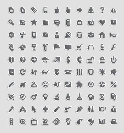 iconos de m�sica: Bot�n de etiqueta establecido. 100 iconos para los negocios, entretenimiento, tecnolog�a y educaci�n. Ilustraci�n vectorial. Vectores