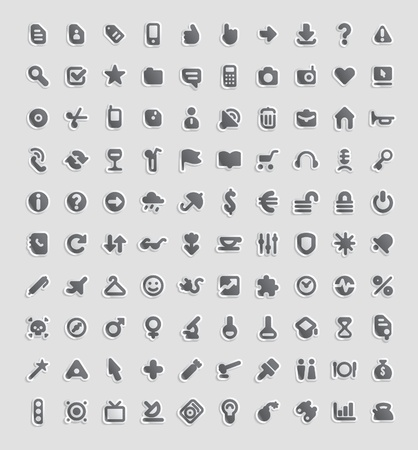 Sticker button set. 100 icons for business, entertainment, technology and education. Vector illustration.
