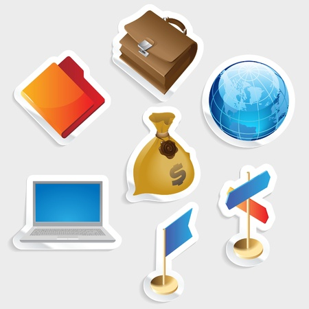 Sticker icon set for business.  Vector illustration. Stock Vector - 11393325