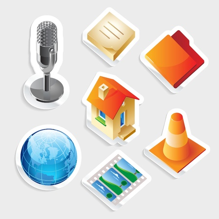 Sticker icon set for computer programs and website interface.  Vector illustration. Vector