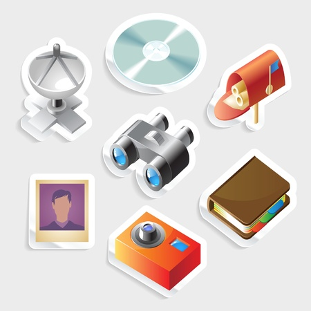 cd label: Sticker icon set for computer programs and website interface.  Vector illustration.