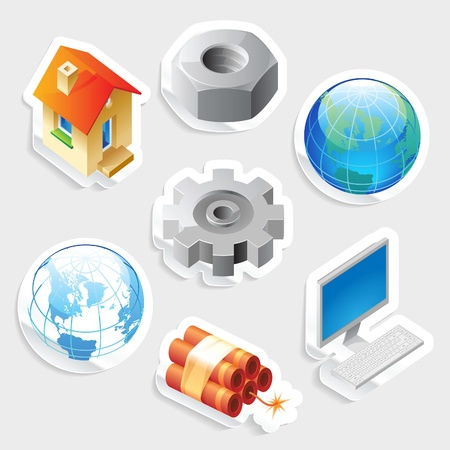 Sticker icon set for industry and technology.  Vector illustration. Vector