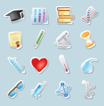 Sticker button set. Icons for science, medicine and education. Vector illustration. Vector