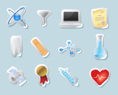 condenser: Sticker button set. Icons for science, medicine and education. Vector illustration.