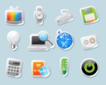 floppy: Sticker button set. Icons for technology and devices. Vector illustration.