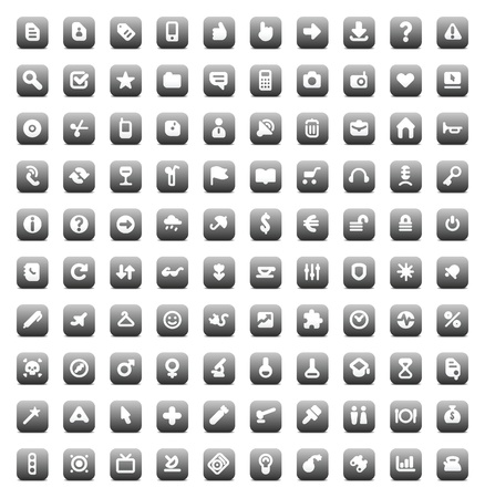 100 web, business, media and leisure icons set. Gray vector buttons. Vector