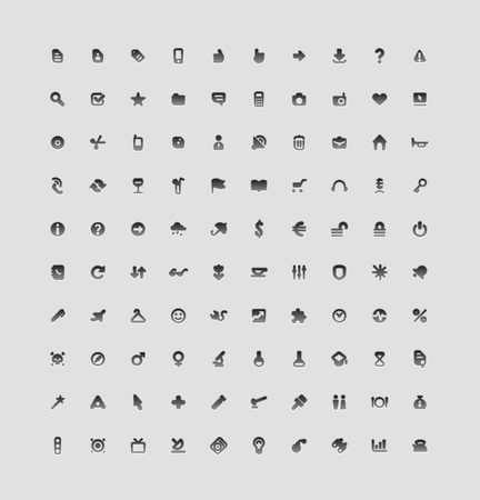 Set of 100 interface icons for business, entertainment and science. Vector illustration.