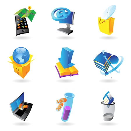 Icons for industry and ecology. Vector illustration. Vector