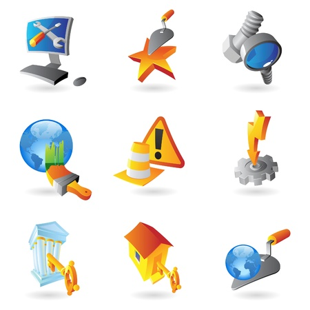 lens brush: Icons for industry. Vector illustration. Illustration