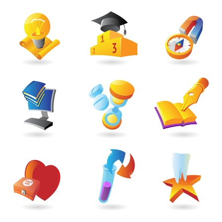 health symbols metaphors: Icons for science, education and medicine. Vector illustration. Illustration