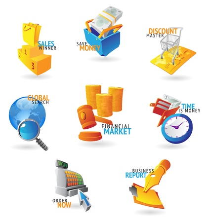time money: Icons for retail commerce. Vector illustration.
