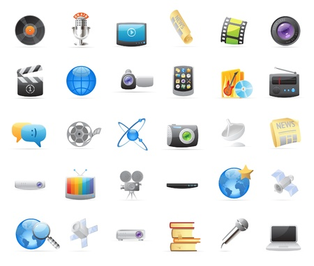 entertainments: 30 detailed vector icons for media. Illustration
