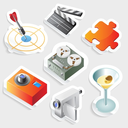 puzzle icon: Sticker icon set for leisure and entertainment.  Vector illustration.