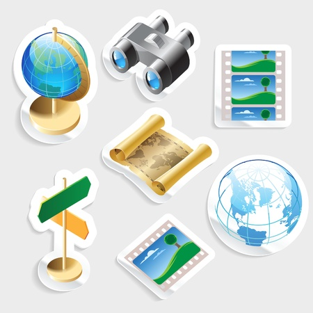Sticker icon set for travel and tourism.  Vector illustration. Vector