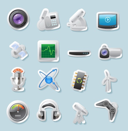 oscilloscope: Sticker button set. Icons for technology and devices. Vector illustration.