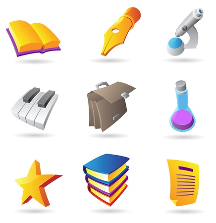 Icons for education and knowledge. Vector illustration. Vector